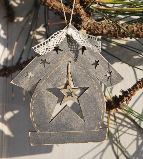 "Christmas ornament - Birdhouse & star"" - DNG22"