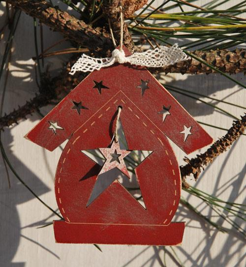 "Christmas ornament - Birdhouse & star"" - red - DNR22"
