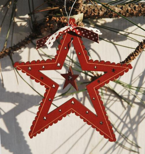 Christmas Star ornament  - red - DNR23