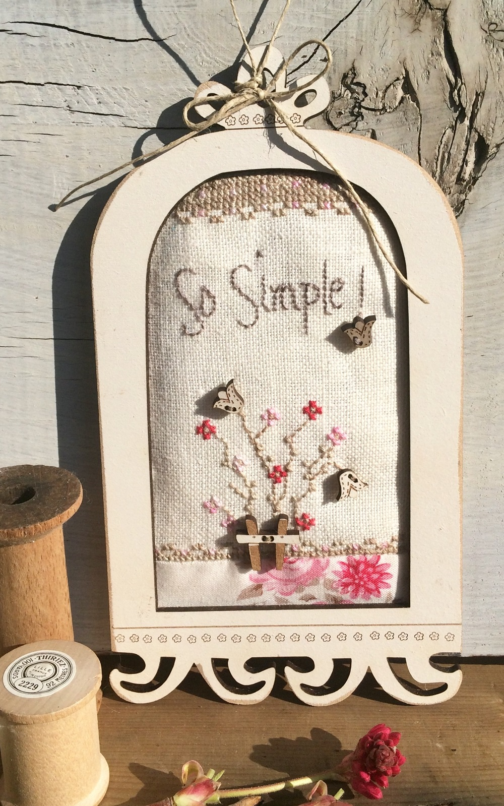 """Crossstitch chart - Birdhouse cage - Frame """"So simple"""" FCAG5"""