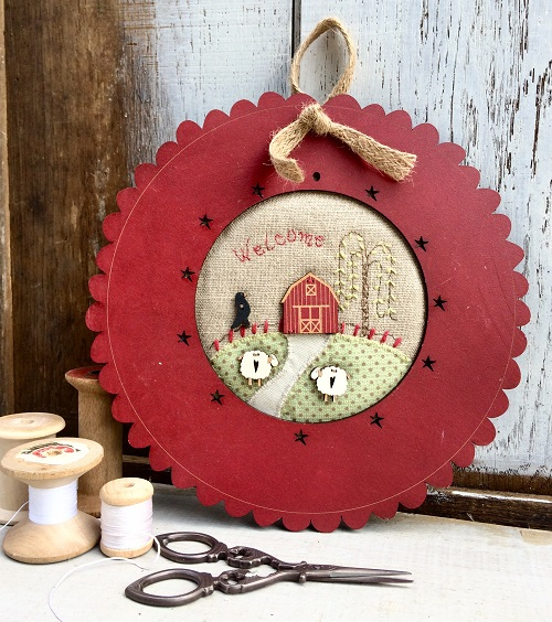 "KTB79A - Mini patchwork kit - "" Welcome countryside barn"" - frame"