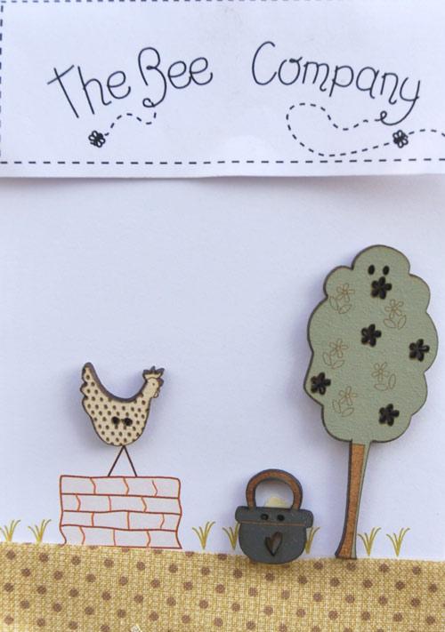 Boutons - poule sur un mur - TB10D