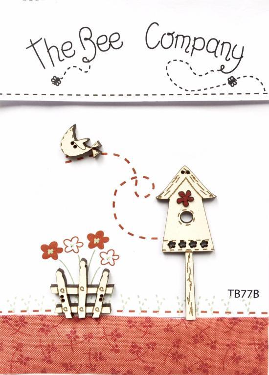 Buttons birdgouse & red flower - TB77B