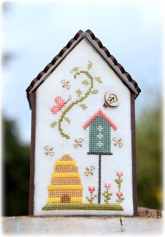 Fiche de point de croix - Fleurs de Lin -  Maison ref 185