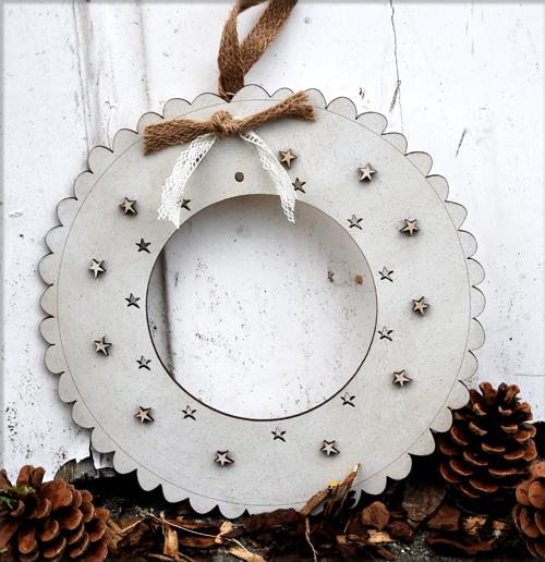 Large Christmas wreath - glittering cream - DC3C