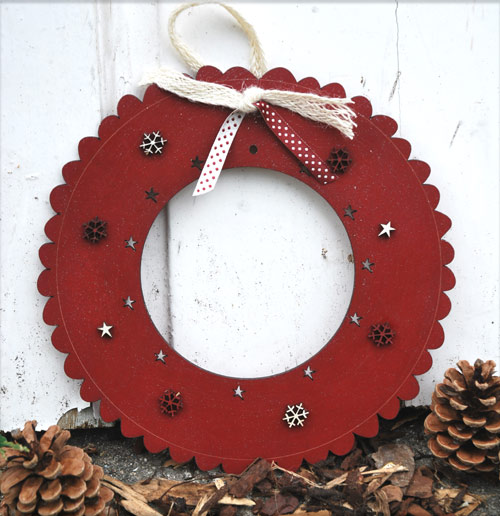 Large Christmas wreath - glittering red - DC3R