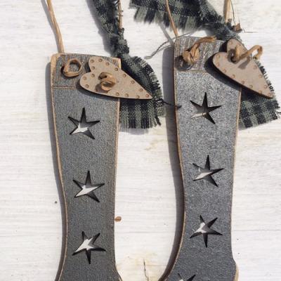 2 chaussettes de Noël gris métal