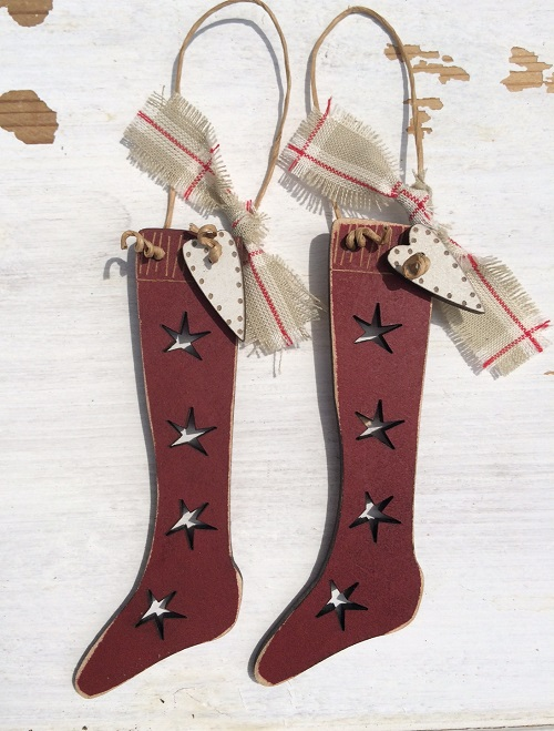 2 Christmas rustic socks - red - DNG3rouge