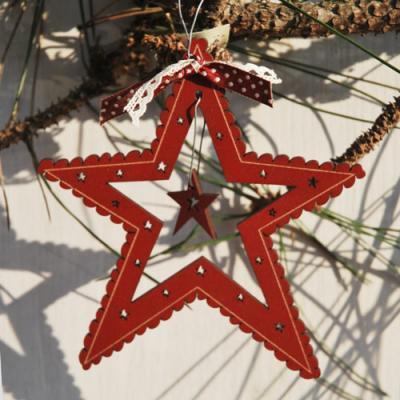 Décoration Etoile de Noël - bordeaux - DNR23