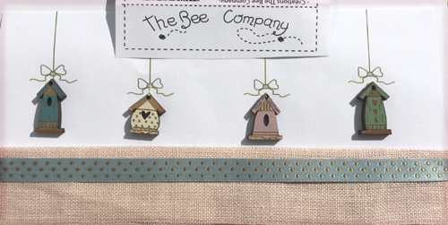 buttons - 4 Spring birdhouses -TB15B