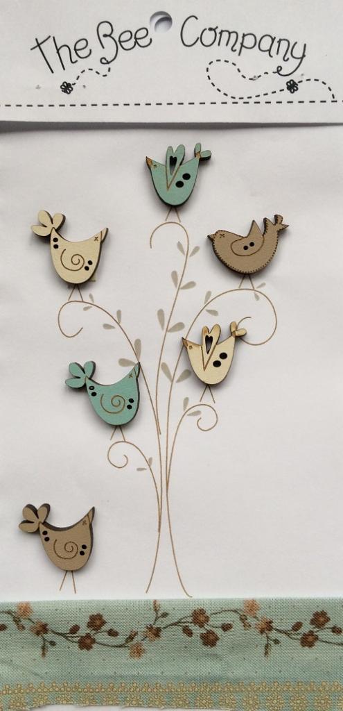 Buttons Vintage blue birds - TB26B