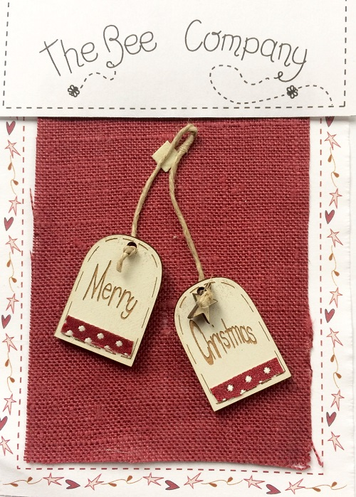 buttons - 2 Merry Christmas tags - TB30E