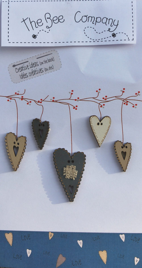 Buttons 5 blue hearts - TB3E