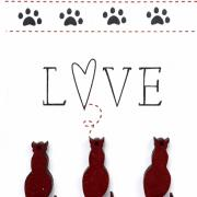 Buttons cat lovers - red - TBM26