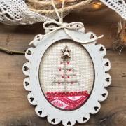 Crosstitch chart Mini Christmas oval frame - TC12A