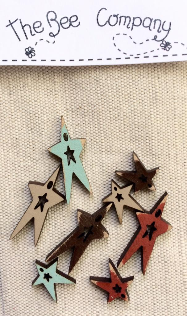 buttons - 8 mini Fall stars - TE9